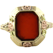Vintage 10K Yellow and Rose Gold Carnelian Ring Size 6.5