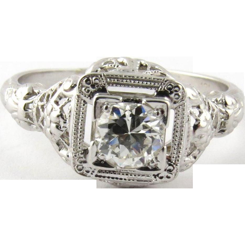 vintage 18k white gold filigree ring size 7 25
