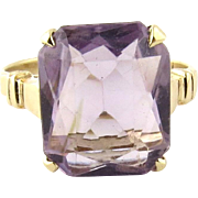 Vintage 10K Yellow Gold Genuine Purple Amethyst Ring Size 5