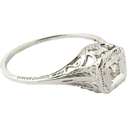 Vintage 18K White Gold Diamond Filigree Ring Size 5.75