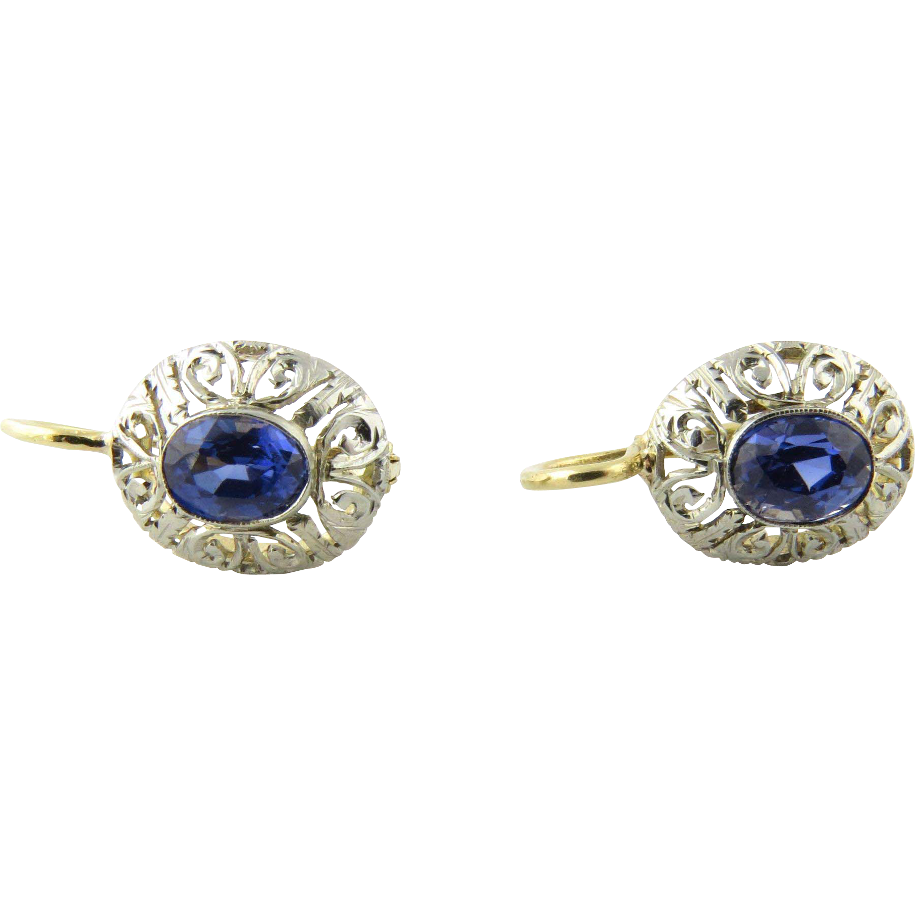 Vintage 14k White And Yellow Gold Genuine Sapphire Earrings