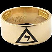 Vintage 10K Yellow Gold 14th Degree Scottish Rite Masonic Band Size 7.5 - Red Tag Sale Item