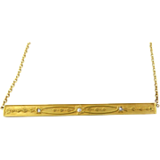 Upcycled 14K Yellow Gold and Diamond Bar Necklace