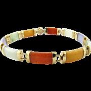 Vintage 14K Yellow Gold Multi Color Jade Bracelet