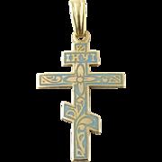 Vintage 10K Yellow Gold Enamel Orthodox Cross Pendant