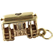 Vintage 14K Yellow Gold Trolley Car Charm