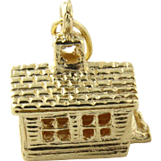 3-D Vintage 14K Yellow Gold One Room School House Charm