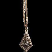 "Vintage 14K Yellow Gold Diamond Pendant Chain Link Necklace 16"""