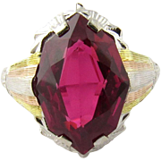 Vintage 14K Tri Color Gold Synthetic Ruby Ring Size 7.25