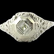 Vintage 14K White Gold and Diamond Ring Size 7.25