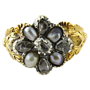 Antique 14K Yellow Gold Pearl and Rose Cut Diamond Mourning Ring Size 5.75
