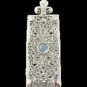 Vintage 14K White Gold Filigree Aquamarine Pendant