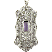 Vintage 14K White Gold Genuine Amethyst and Diamond Filigree Pendant