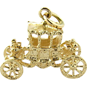 Vintage 14K 3-D Movable Yellow Gold English Royalty Carriage Charm