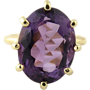 Vintage 14K Yellow Gold and Genuine Amethyst Ring Size 4.75