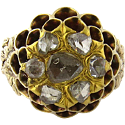 Antique 14K Yellow Gold Rose Cut Diamond Beehive Ring Size 6.25