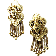 Antique Victorian Etruscan Revival 14K Yellow Gold Fringed Tassle Drop Earrings