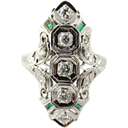 Vintage 18K White Gold Diamond and Emerald Art Deco Ring Size 6