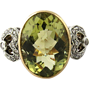 Antique Georgian 18K Rose Gold Platinum Citrine Diamond Ring Size 6.5