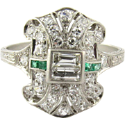 Antique Victorian Diamond and Emerald Ring Size 7