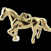14K Yellow Gold Vintage 3-D Horse Pendant