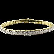 Vintage 14K White and Yellow Gold Diamond Bracelet