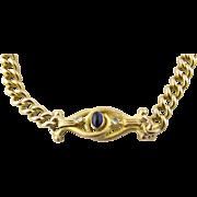 Antique Georgian 14k Yellow Gold Sapphire and Diamond Link Bracelet