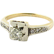 Vintage 14K Yellow and White Gold Diamond Engagement Ring Size 5