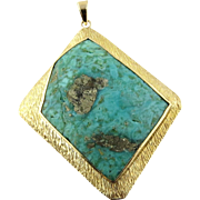 Vintage 18K Yellow Gold and Turquoise Large Pendant