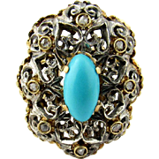 Antique 18K White and Yellow Gold Turquoise Diamond Ring Size 7.5