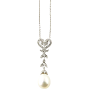 Vintage 14K White Gold Diamond and Drop Pearl Necklace