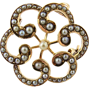 Vintage 14k Yellow Gold and Seed Pearl Brooch Pendant