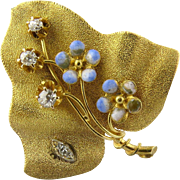 Vintage 14k Yellow Gold Diamond and Enamel Leaf Brooch