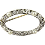 Antique 14K Gold Edwardian Rose Cut and Old Mine Diamond and Pearl Brooch