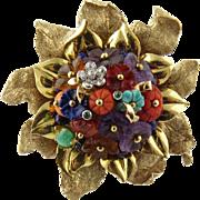 Vintage 14K Yellow Gold Multi Gem Flower Brooch Pin