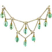 Vintage 14K Yellow Gold and Emerald Drop Bead Seed Pearl Necklace