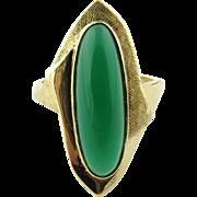 Vintage 14K Yellow Gold Chrysoprase Ring Size 5