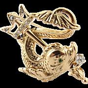 Vintage 14K Yellow Gold and Diamond Poseidon Fish with Trident