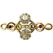 Vintage 14K Yellow Gold White Spinel, Ruby, Mother of Pearl Brooch