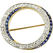 Antique 18K Yellow Gold and Platinum Diamond and Sapphire Circle Brooch Pendant
