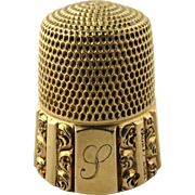 Antique 14K Yellow Gold Thimble Size 9