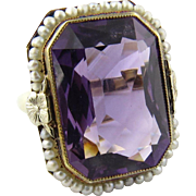 Antique 14K Yellow Gold Amethyst and Pearl Ring Size 6