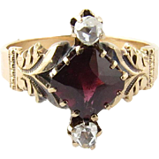Antique 10K Yellow Gold Garnet and Rose Cut Diamond Ring Size 5.25