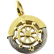 Vintage 18K Yellow and White Gold Ship Wheel Charm