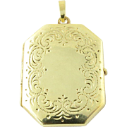 Vintage 14K Yellow Gold Locket Pendant