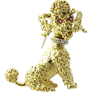 Vintage 18K Yellow Gold Poodle Brooch with Pink Sapphires and Diamonds