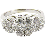Vintage Platinum and Diamond Floral Ring Size 7