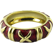 Vintage 18K Yellow Gold and Red Enamel X Band Ring Size 5.5