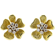 Vintage 18K Yellow Gold and Diamond Dogwood Earrings Pierced