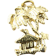 Vintage 14K Yellow Gold Tropical Pendant with Palm Trees